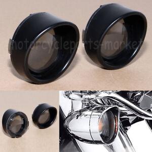 Turn Signal Light Trim Ring Visors Smoke Len For Harley Dyna Sportster Touring