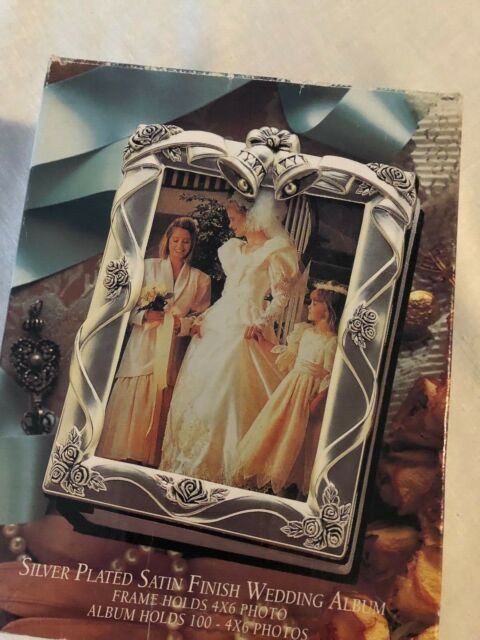 SILVER PLATED SATIN FINISH WEDDING ALBUM FRAME HOLD 4X6 PHOTO ALBUM HOLDS 100