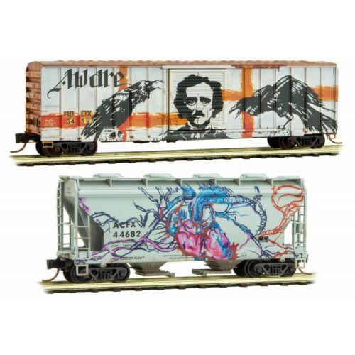 N Scale MICRO-TRAINS LINE 993 05 490 TELL-TALE HEART Weathered Graffiti 2-Pack