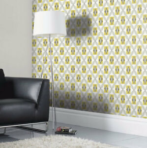 Retro Wallpaper Vintage 3d Geometric Diamond Yellow Grey Off White