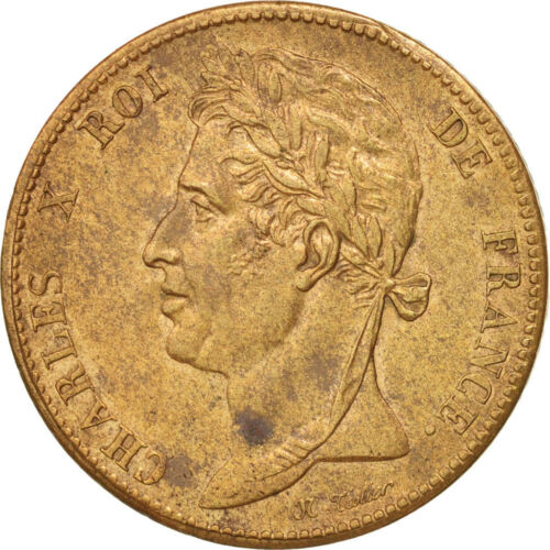 #47279 FRENCH COLONIES, Charles X, 5 Centimes, 1825, Paris, Bronze, KM10.1