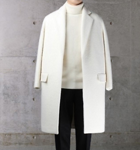 Hot Men Trench Coat Thick Warm Peacoat Overcoat Wool Long Parkas White Size J