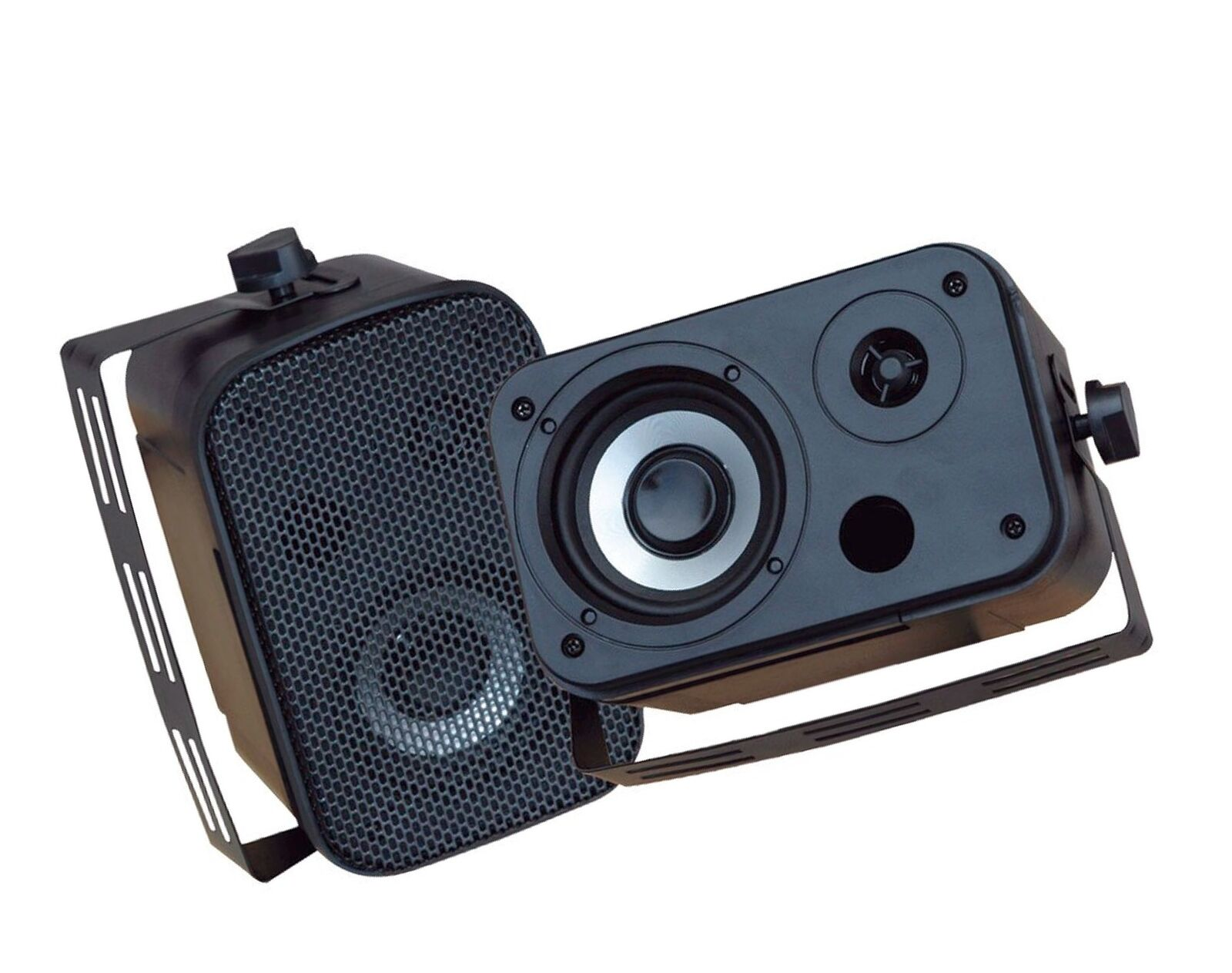 Dual Waterproof Outdoor Speaker System - 3.5 Inch Pair of Weatherproof Wall  ...