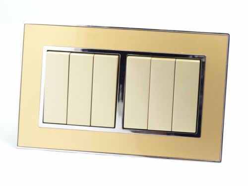 I LumoS as gold mirror glass /& Gold 13 A UK Single//Double Socket /& Light Commutateurs
