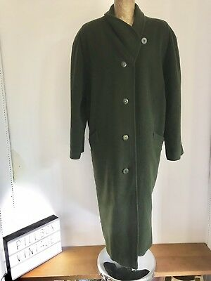 Amabile 80s Eastex Heirloom Verde Muschio Misto Lana Cappotto Vintage, Taglia 16-