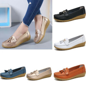 Womens-Driving-Loafers-Moccasin-Oxford-Casual-Soft-Shoes-Flat-Lazy-Peas-Slip-On