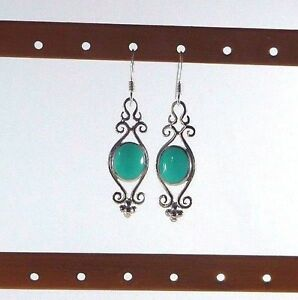 Created-Turquoise-925-Sterling-Silver-Victorian-Style-Fishhook-Earrings