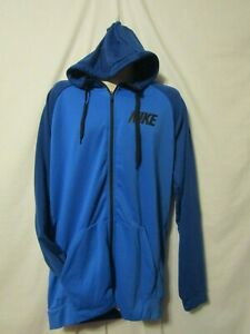 Details about mens nike dri fit hoodie jacket 3XLT nwt $60 full zip blue on blue