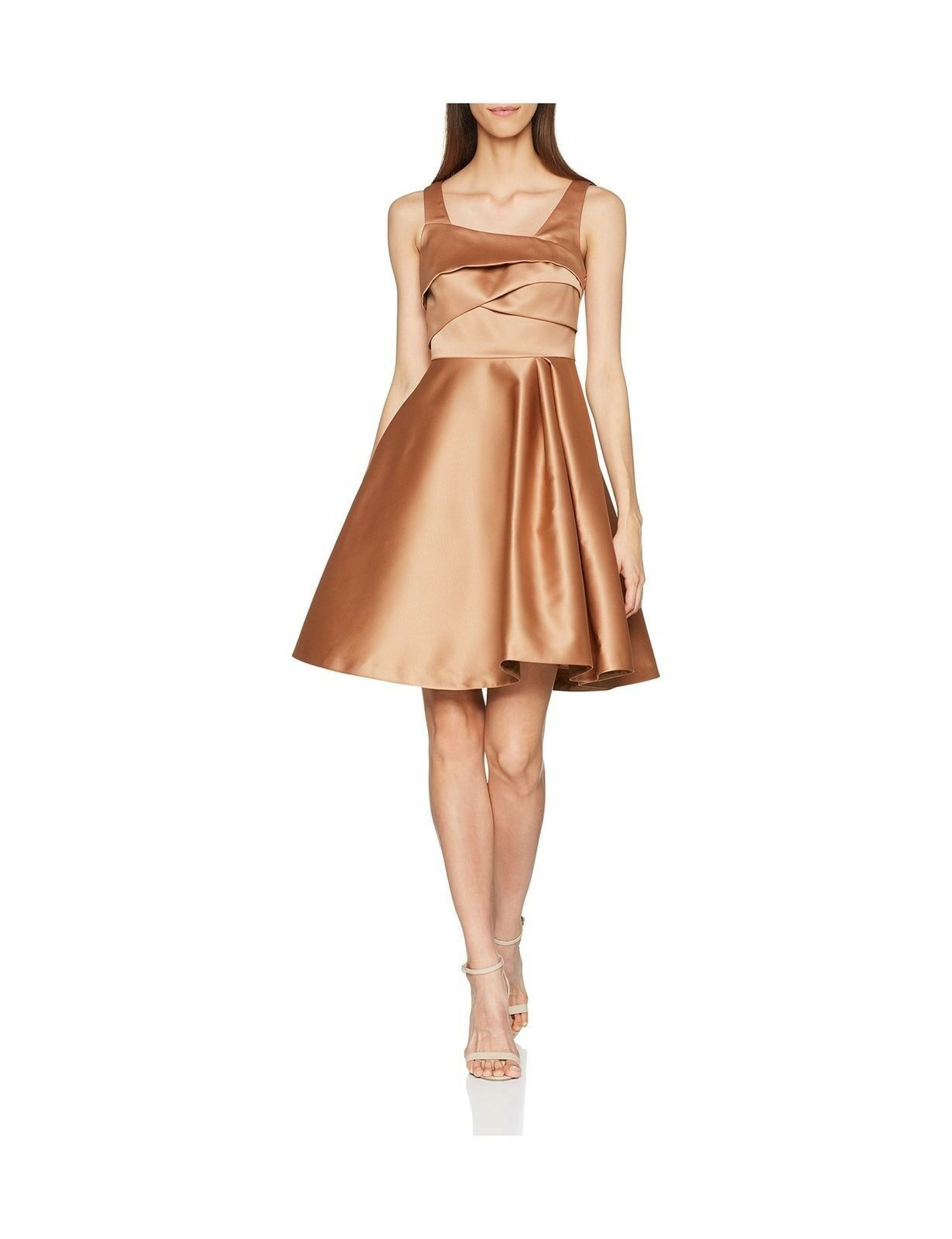 COAST AMORE CARAMEL SATIN EVENING SPECIAL OCCASION PARTY DRESS SIZE 14 BNWT