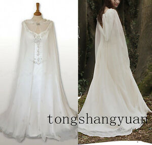 Wedding-Bridal-Cloak-White-Ivory-Chiffon-Capes-Hooded-Medieval-Wrap-Floor-Length