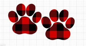32ff70ad Details about Paw Prints in Red Buffalo Plaid Decal Great for 20oz or 30oz  Insulated Cups 3