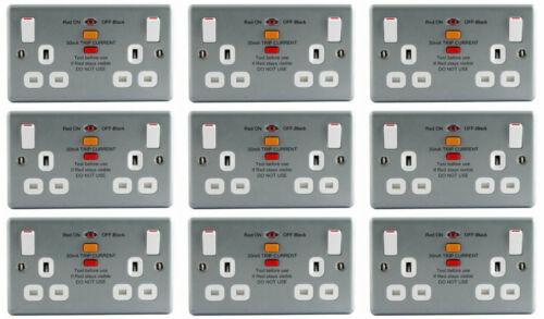 9 x BG MC522RCD Metalclad Twin RCD Switch Sockets 13A 2 Gang