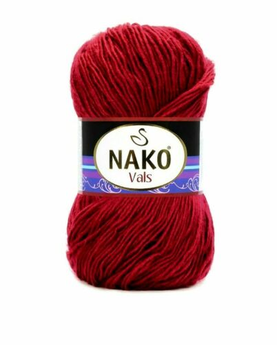 New Nako Vals Yarn Dark Red 262 Yards Acrylic Fiber Soft Texture Shiny In Color