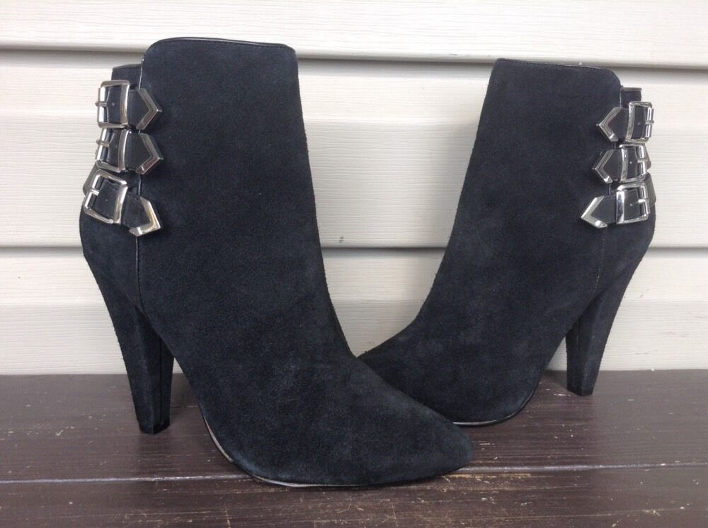 DV DOLCE VITA FINA SUEDE ZIP UP BUCKLES BOOTIES ANKLE BOOTS BLACK SZ 7 NEW! $129