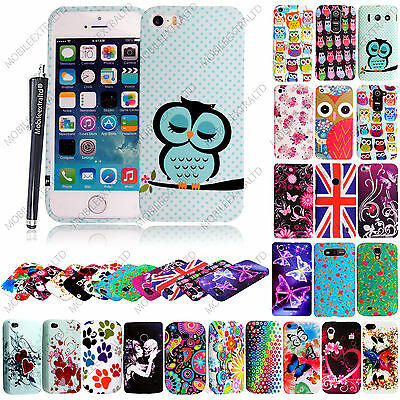 Printed Silicone Rubber Gel Case Cover For Various Phones + Screen Guard +Stylus