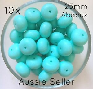 10 silicone AQUA BLUE abacus beads 25mm BPA free baby teething necklace green