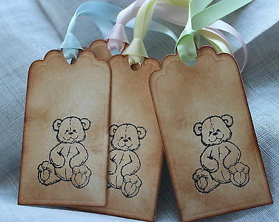 TEDDY BEAR-Vintage Style Gift Tags-Handmade-Set of 5-Baby Shower-Christening