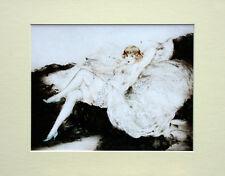 "Louis Icart Mounted Print - Sue Le Divan LC8 - Erotic Art  SIZE  14"" X 11"""