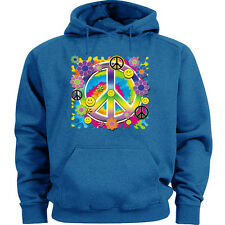 Flower child sweatshirt peace sign hoodie sweats blue peace symbol design