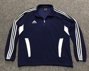 Details about ADIDAS Vintage Zip Athletic Fleece Sweatshirt Sweater Blue Size Large ClimaWarm