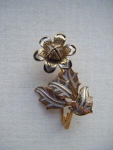 Vintage-034-Toledo-Damasquinado-034-Flor-de-Bud-Broche-Pin