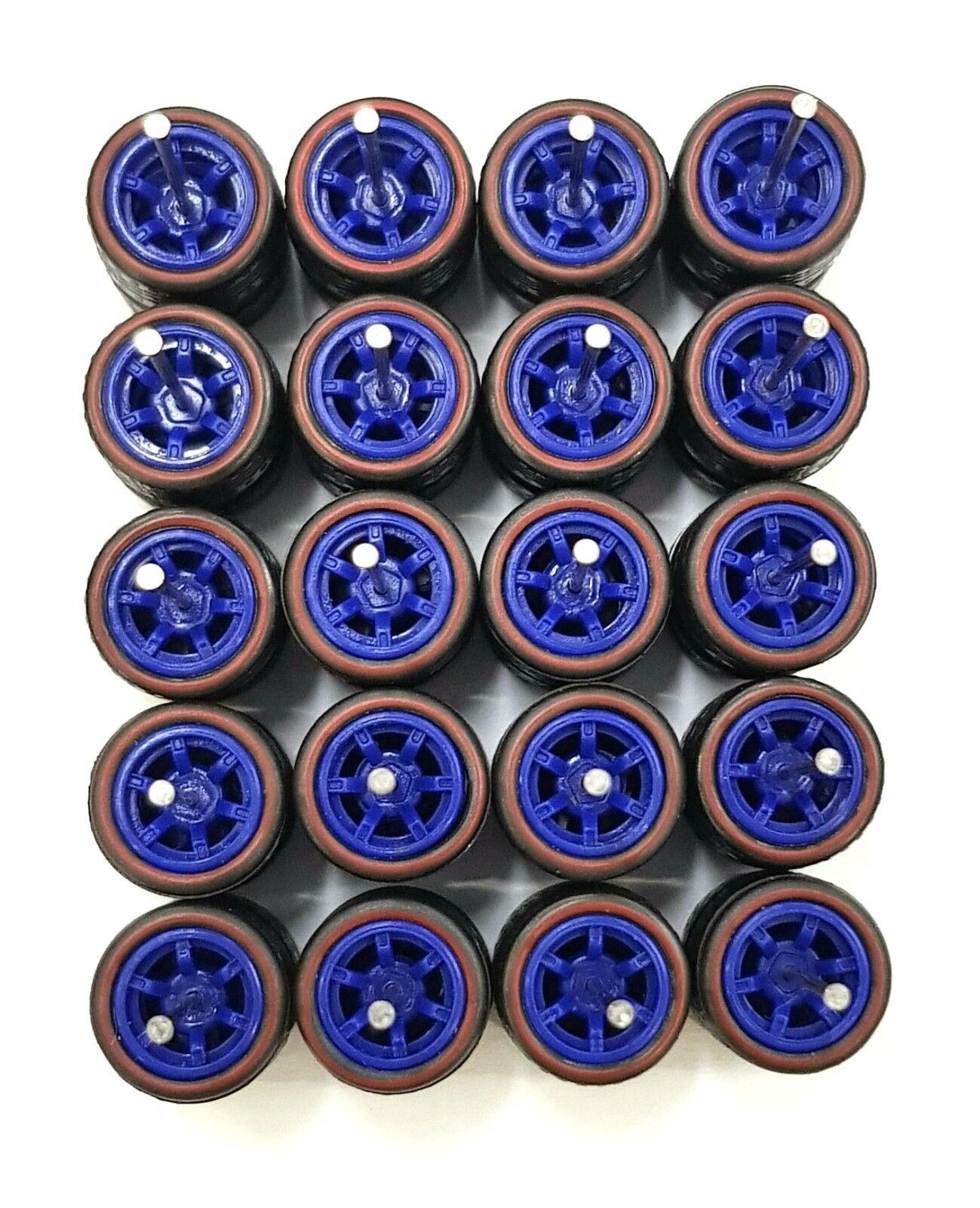 10 sets 6 spoke CM6 6sp bluee Redline Rubber Tires long axle fit 1 64 Hot Wheels
