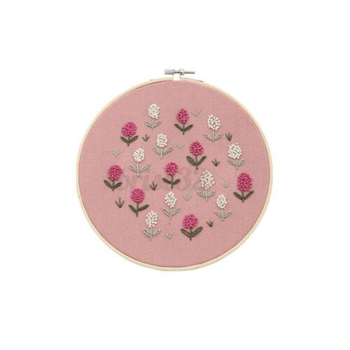DIY Embroidery Kit for Beginner Flower Pattern Cross Stitch Needlework w//Hoop