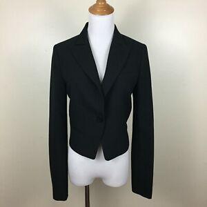 AKAC-ECOU-Womens-Sz-38-Black-Zip-Sleeve-Mixed-Fabric-Cropped-Blazer-Jacket