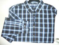 Mens Long Sleeve Casual Shirt, Cotton/ Polyester, Button Front, Black/blue 14