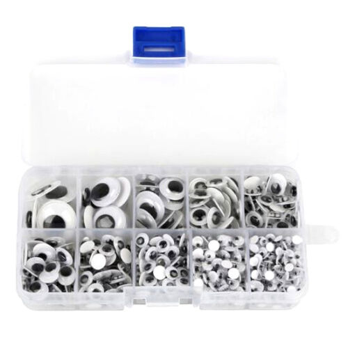 700 Wackelaugen Boxe// Set 4mm-18mm Selbstklebende Kulleraugen für Kinder Basteln
