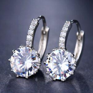 Drop-Earrings-18K-White-Gold-GP-CZ-Zircon-Crystal-Hoop-Dangle-Studs
