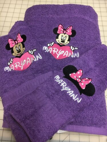 Minnie Mouse Heart Personalized Embroidered Towels