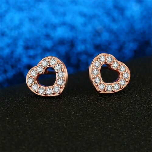 925 Sterling Silver Rose Gold Plated Captured Hearts Stud Earrings Gift Bag