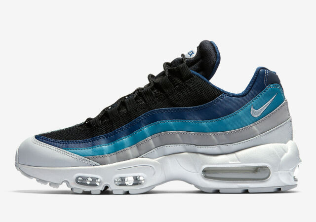 new arrival af4ba 956b2 Mens Nike Air Max 95 Essential Trainers Grey Sky Royal Blue 749766 026