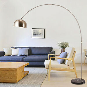 Retro-Style-Silver-Chrome-amp-Black-Marble-Base-Arco-Style-Arc-Floor-Standing-Lamp