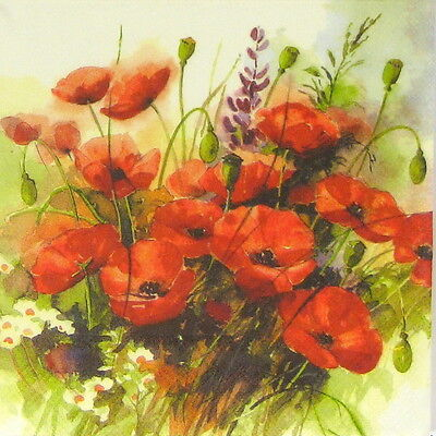 4x Wild Poppies Flowers Paper Napkins for Decoupage Decopatch