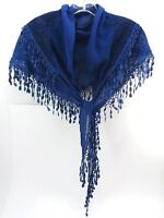 Lacy Scarf Triangle Shape Royal Blue Soft To The Touch Lacy Fringe