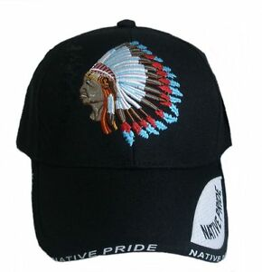 Baseball-Cap-Hat-with-sign-embroidered-Native-Pride-Indian-black