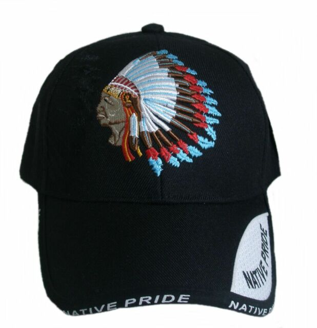 Baseball Cap, Hat with Shield Embroidered NATIVE PRIDE INDIAN Black
