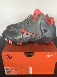 lebron XI gs basketball shoes Size 4y Wolf Grey Laser Crimson Black ... c78ab0333