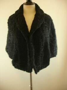 Womens-One-Size-Lay-Furs-Black-Curly-Persian-Mongolian-Lamb-Fur-Stole-Jacket-O-S