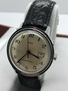 NEW-OLD-STOCK-Vintage-Timex-Big-Size-Men-039-s-Manual-Wind-Silver-Tone-Day-Date