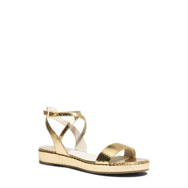 e99a3a1c3117e Michael Kors Kaylee Flat Platform Sandal Pale Gold Metallic Leather Shoe  Size 6