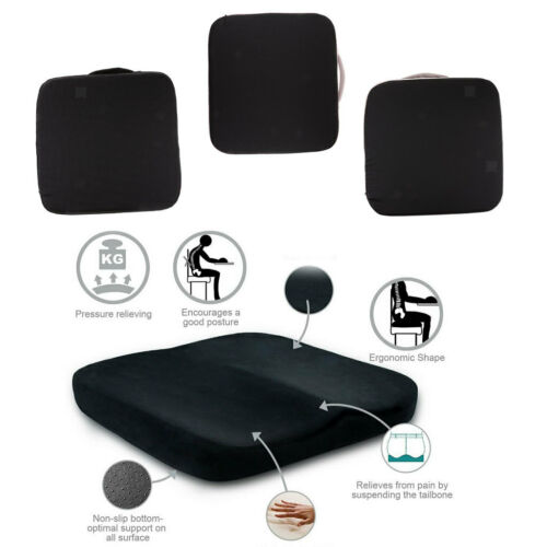 Square Memory Foam Seat Cushion Chair Pad, Carry Handle, Removable Cover