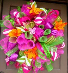 Handmade-XL-Summer-Spring-Door-Wreath-30-034-Hot-Pink-Green-Floral-Deco-Mesh-Decor