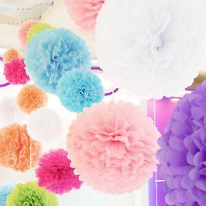 Ghirlanda-Fiori-Pom-Pon-Carta-Festa-Nozze-Matrimonio-Decorazione-Fiore-25cm-5pz
