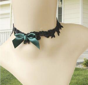 Collier-Ras-De-Cou-choker-gothique-retro-dentelle-noire-noeud-satin-vert-fonce