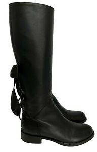 VALENTINO-BLACK-LEATHER-039-BOW-039-BOOTS-35-1595