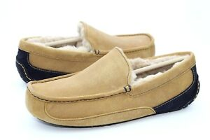 9db172abc45 UGG MENS ASCOT CHESTNUT / NAVY SUEDE SLIPPER SHOE SIZE 12 US RARE ...