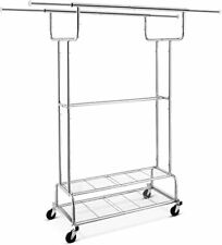 Double Rail Clothes Garment Rack Heavy Duty Commercial Clothing Rolling Rack